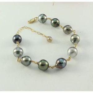 BRACELET - GOURMETTE Bracelet à mailles en perles de Tahiti_Or
