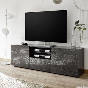 MEUBLE TV Grand meuble télé gris laqué design NERINA 2 L 181