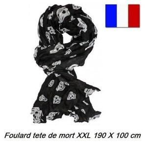 ECHARPE - FOULARD FOULARD CHECHE PIRATE TETE DE MORT TAILLE XXL (180