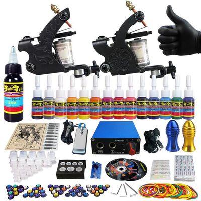 Solong Tattoo Kit de Tatouage Complète 2 Machine à Tatouer Professionnelle 14 Encres Power Supply Aiguille de Tatouage TK203-40