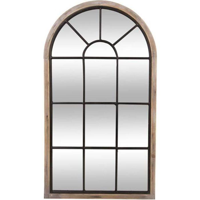 Miroir en bois et métal - H 106,5 cm - Noir