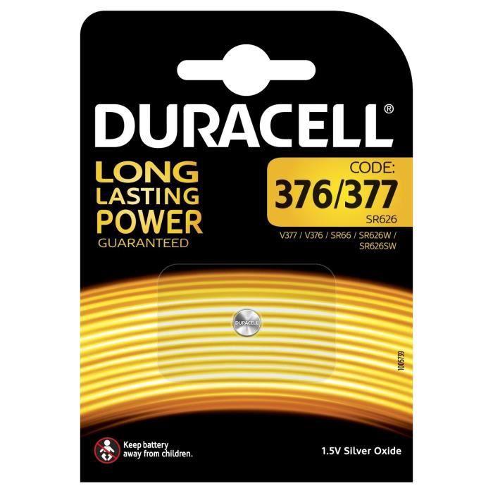 Pile oxyde d'argent Duracell spéciale 376-377 - 1,55 V, pack de 1 (SR66 - SR626 - V377 - V376 - SR626W - SR626SW) conçue pour une