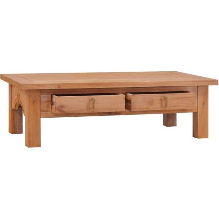 FHE - Table basse 100x50x30 cm avec finition naturelle Bois d'acajou massif L'assemblage est requis brun DXYH3040