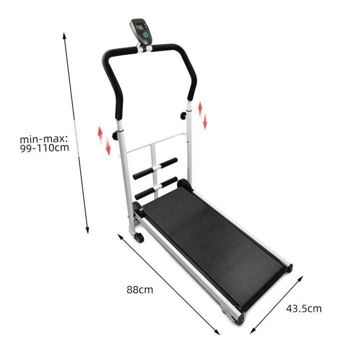 Mini Tapis de Courseavec Barre de Sit-Up pour Maison Noir-Charge maximale 100 kg