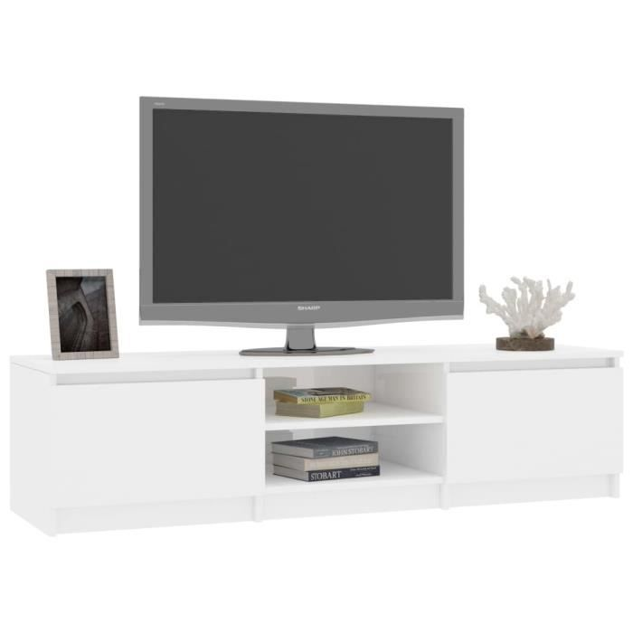 CES Meuble TV, Blanc brillant 140 cm Aggloméré