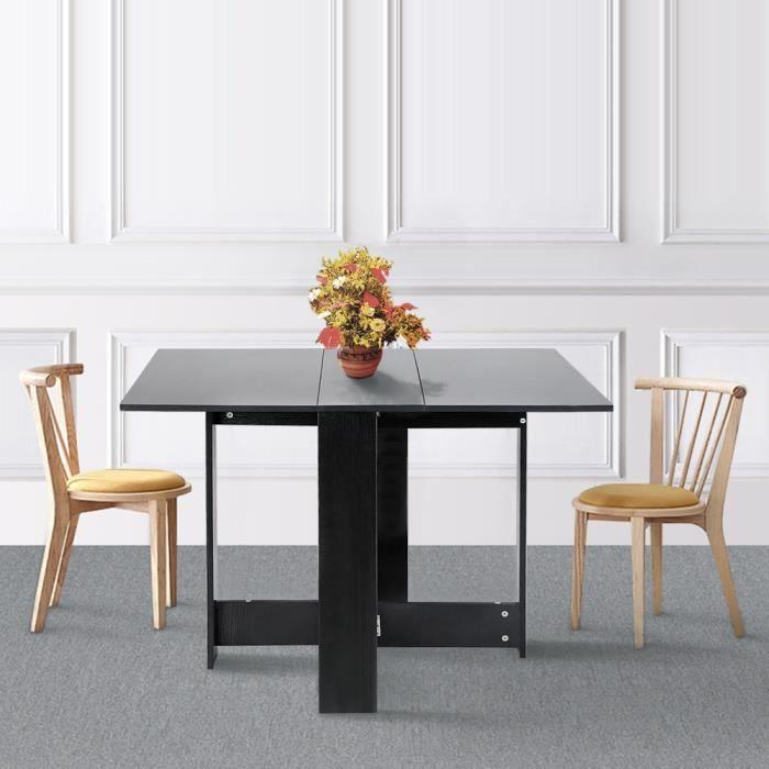 Table Pliante Salle à Manger Contemporain Moderne 103*76*73.4cm - Noir