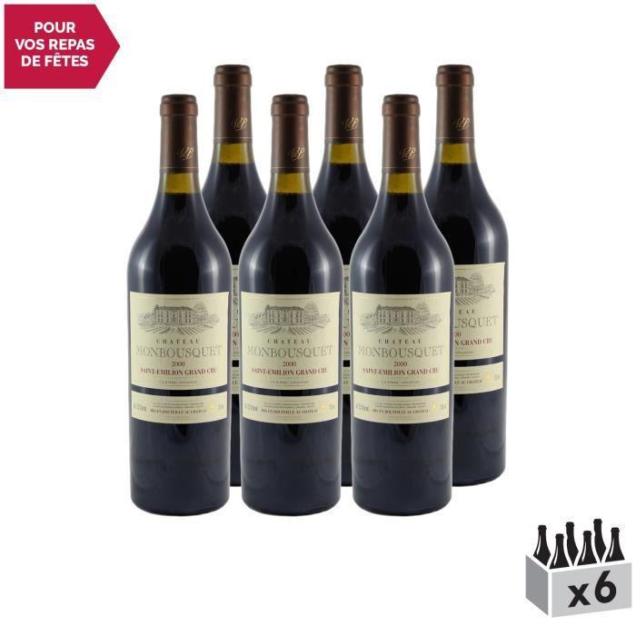 Château Monbousquet Saint-Emilion Grand Cru Classé Rouge 2000 - Lot de 6x75cl - Vin AOC Rouge de Bordeaux - Cépages Merlot,