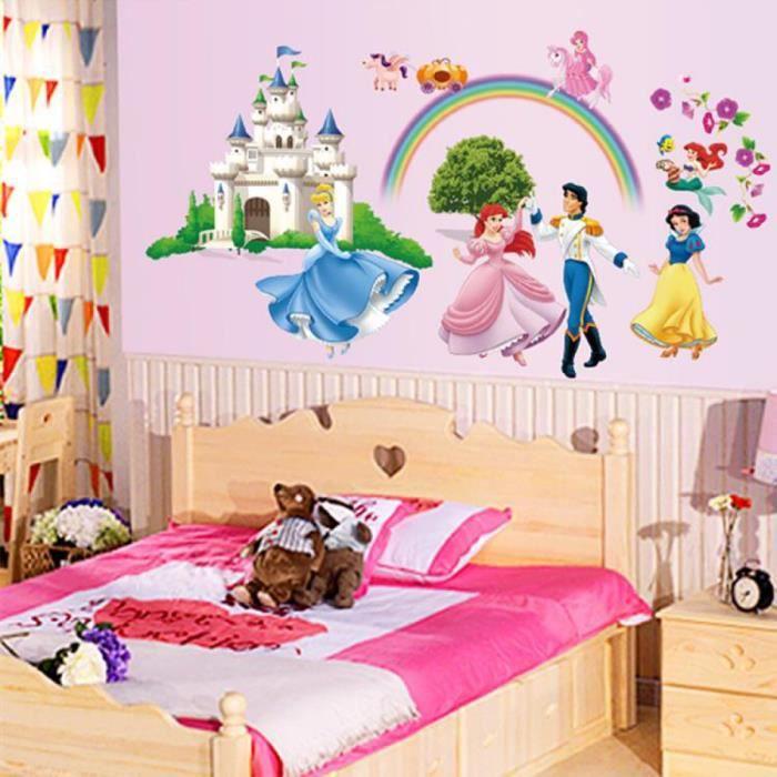 Disne Mur Autocollants Pour Les Chambres D'Enfants Filles Décoration Château De Princesse Salon Canapé Stickers Muraux Décoration