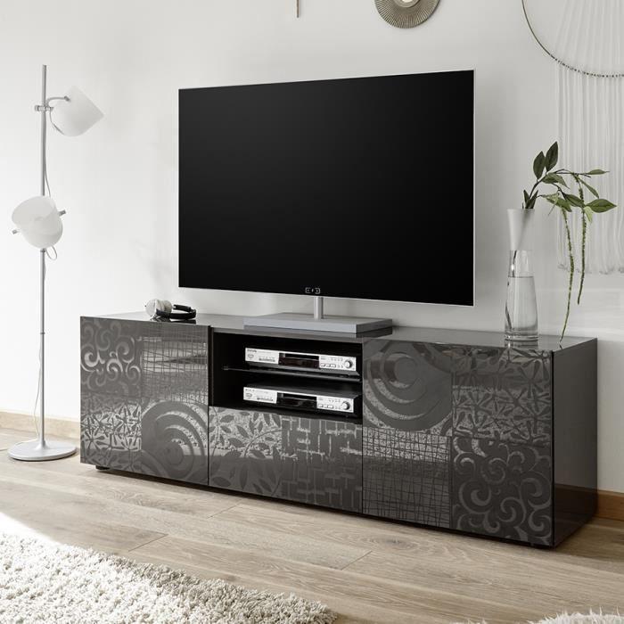 Grand meuble télé gris laqué design NERINA 2 L 181 x P 42 x H 57 cm Gris