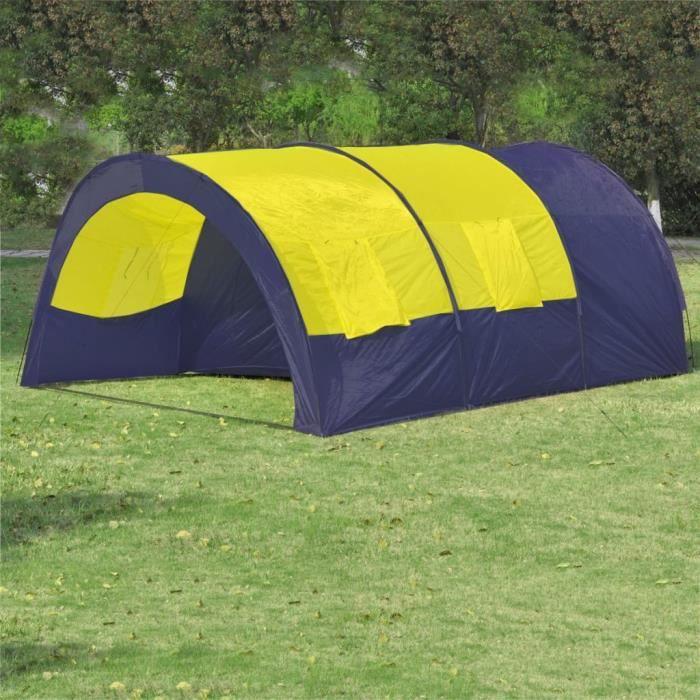 Star® Tente dôme familiale 6 places Professionnel - bleue et jaune 8215 :-)