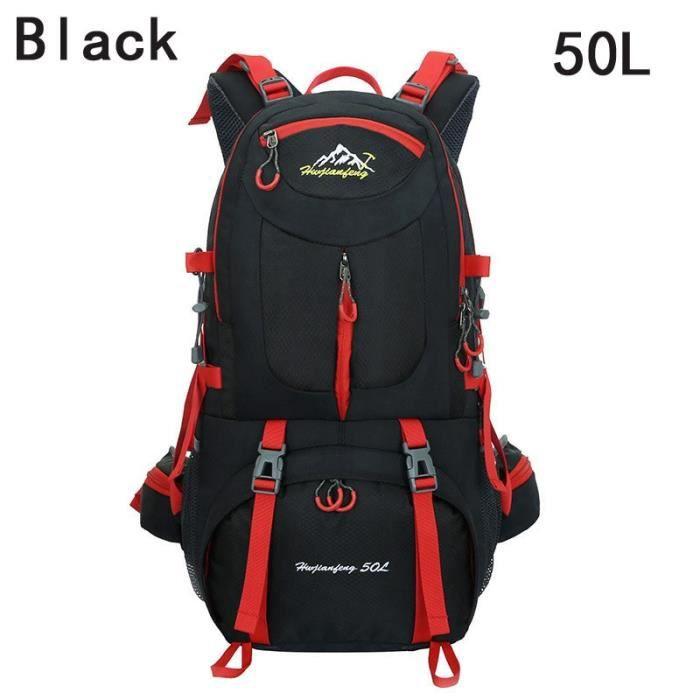 Black 50L 50 - 70L -Sac à dos étanche pour activités en plein air, 40l, 50l, 60l, pour hommes, femmes, sport, escalade, randonnée, v