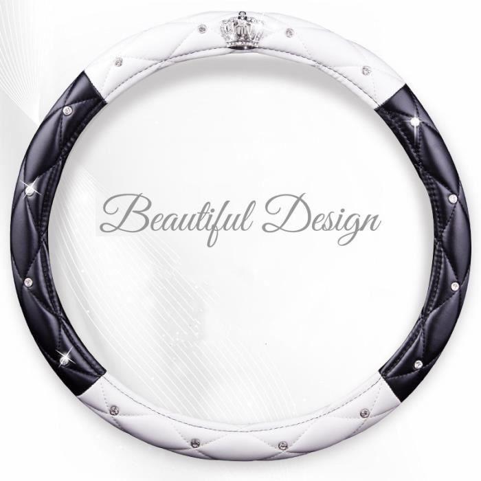 Couvre volant de voiture en cuir PU pour femmes - Couvre volant de voiture, diamant noir rose, accesso black white