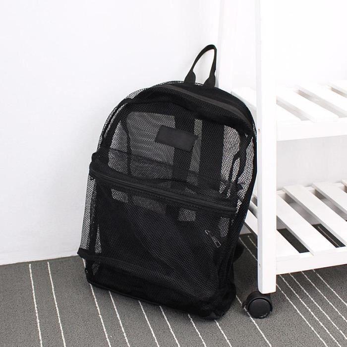 Sac à Dos,Mode femmes sac à dos Transparent maille sac à dos pour garçons et filles sac à dos léger sac - Type Black