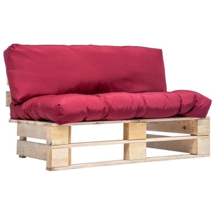 Elégant - Sofa Canapé - Canapé de salon - Canapé de jardin Haut de gamme - Sofa -palette avec coussins rouge Pinède @791123