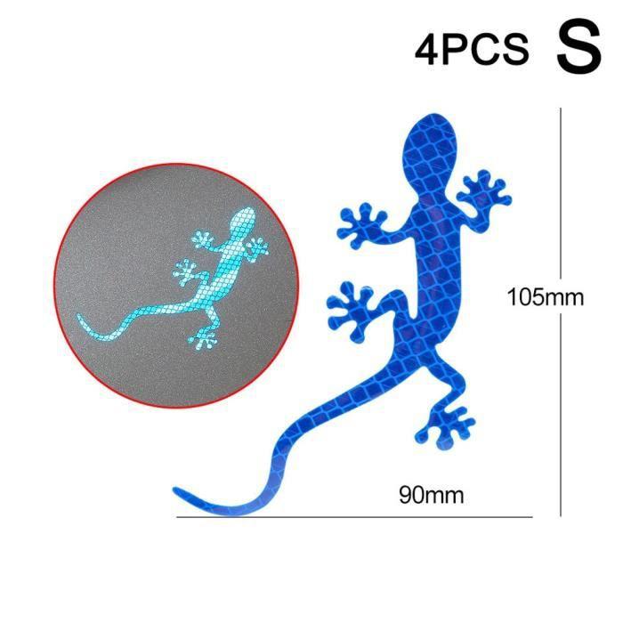 Accessoire vélo,Bandes réfléchissantes de voiture Gecko forme avertissement bande réflecteur autocollant - Type blue S 4pcs #C