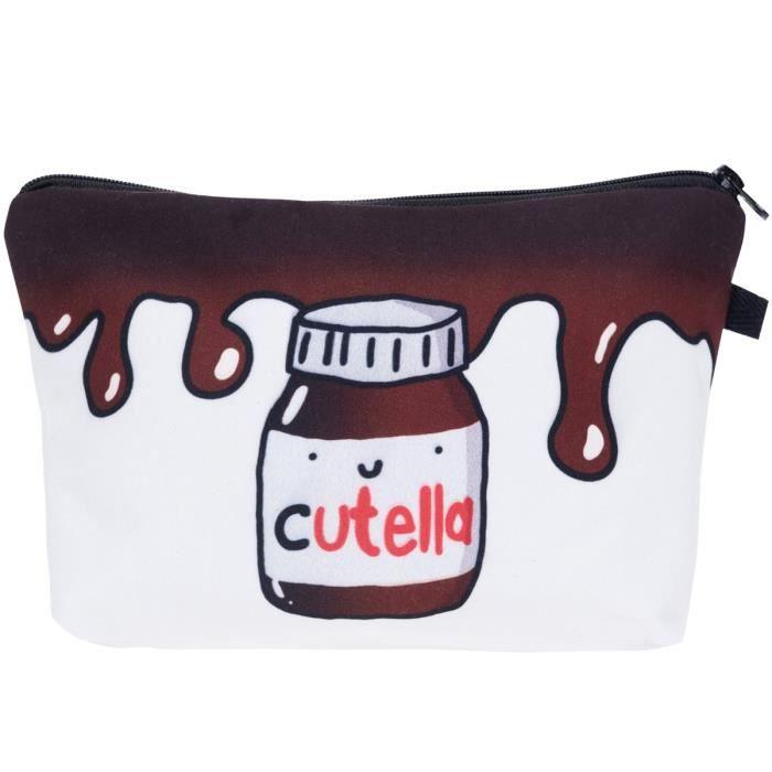 PREMYO Trousse à maquillage Cutella Design Petite trousse de toilette à fermeture éclair Vanity case souple femme idéale pour cos