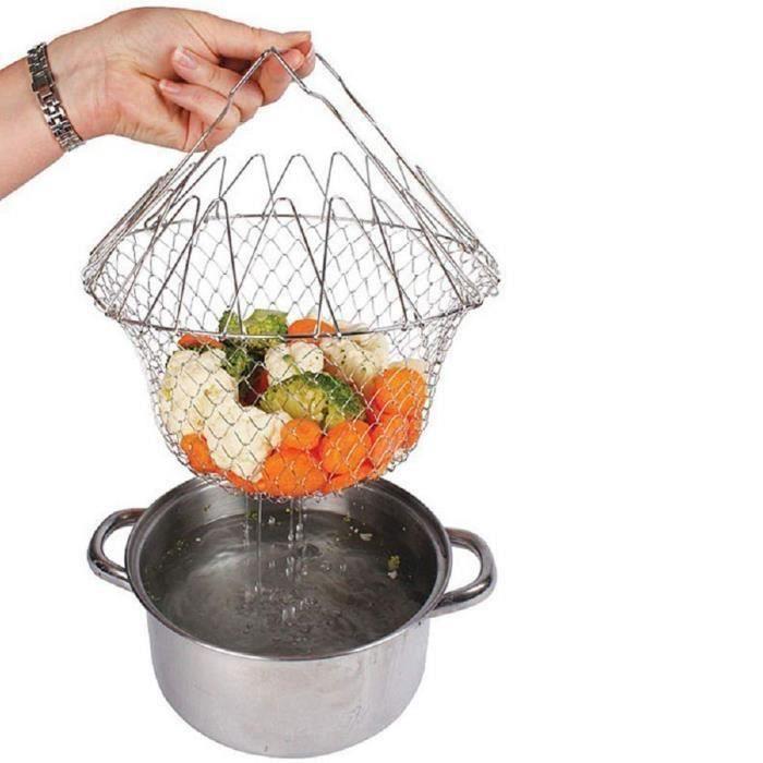 Panier Métal De Cuisson Friture Présentation Rinçage Vapeur Pâtes Frites Légumes Salade Filet Passoire Pliable Rangement Facile Cuis