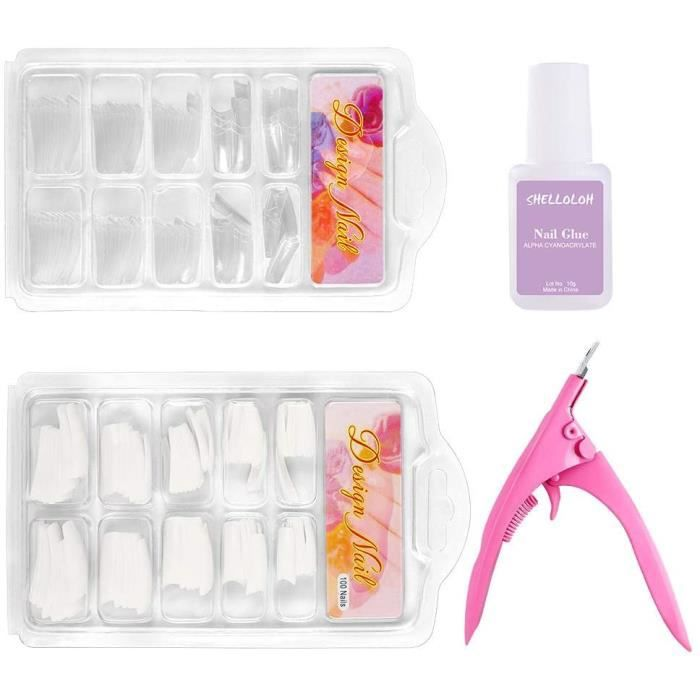 Kit Complet Nail Art de Faux Ongles Capsules 10 Tailles Acrylique Coupe Ongle Guillotine 10g Colle Nail Art 200pcs Fake Nails 668