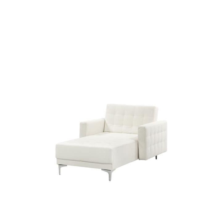 Beliani - Chaise longue en simili-cuir blanc ABERDEEN