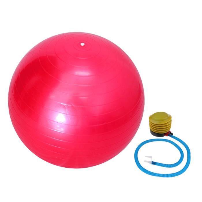 Ballon de Yoga 55 cm Avec Pompe Anti-éclatement Exercice Équilibre Séance d'Entraînement Rose