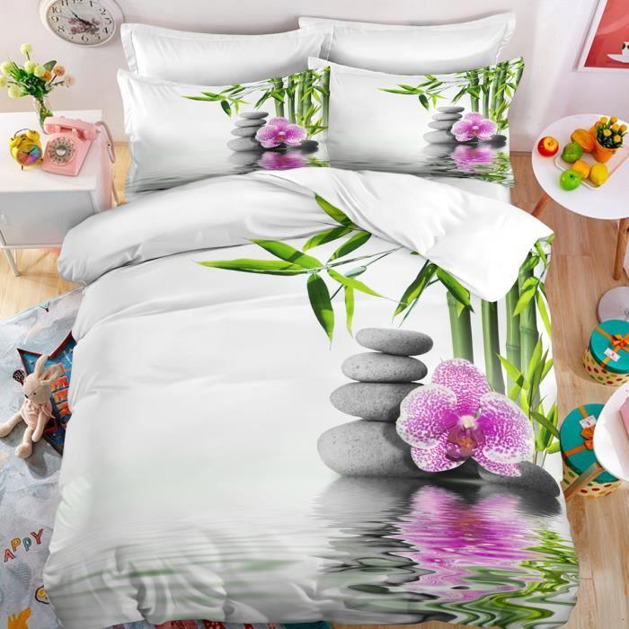 Parure de lit ZEN galets bambous fleur et leurs reflets 150*200cm 3 pieces 1 housse de couette avec 2 taies d'oreiller 63*63cm