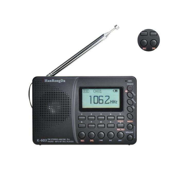 Radio externe portable à radiogramme rechargeable par USB pour le support de camping de randonnée RADIO - RADIO CASSETTE -