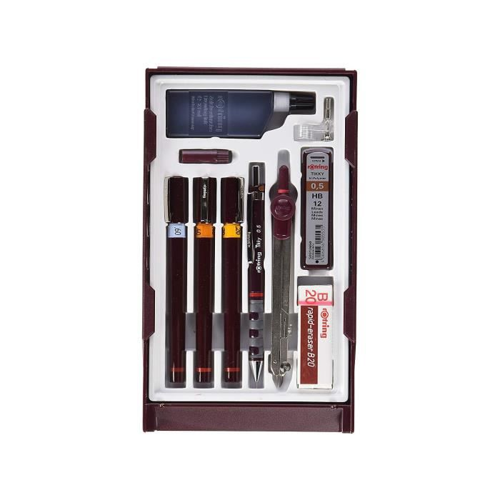 Rotring Set Master, 1 porte-mine Tikky 0.5 + 3 stylos Isograph 0.2 - 0.4 - 0.6 mm, 1 gomme B20, 12 mines HB, 1 flacon d'encre 23 ml,