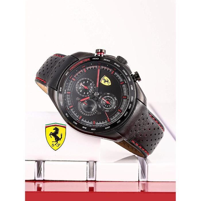 Scuderia Ferrari Homme Analogique Quartz Montre avec Bracelet en Cuir 0830647 7721