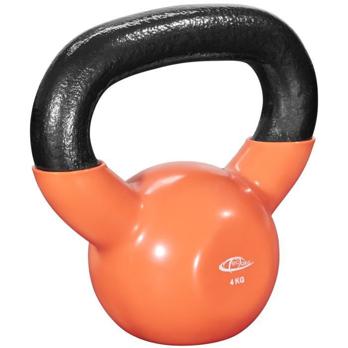 TECTAKE Kettlebell 4 kg pour Exercices de Musculation et de Cross Training en Fonte Orange