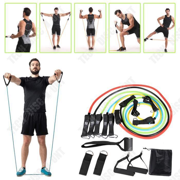 TD® Bandes de résistance élastiques ensembles bande élastique en caoutchouc d'entraînement pour la corde de traction d'entraînement