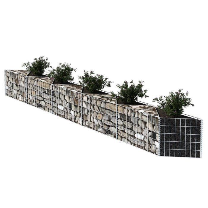 Panier gabion/ Jardinière/ Parterre surélevé Acier 330 x 30 x 50 cm