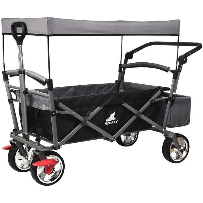 WOLTU Chariot de transport pour jardin, Chariot pliable de jardin avec toit amovible, Anthracite