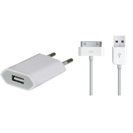 chargeur secteur et cable usb pour iphone 3gs achat. Black Bedroom Furniture Sets. Home Design Ideas