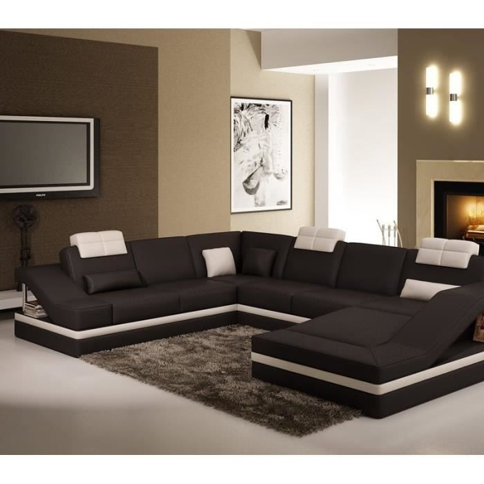 canap d 39 angle design noir et blanc atilde achat vente canap sofa divan cdiscount. Black Bedroom Furniture Sets. Home Design Ideas