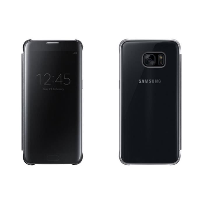 etui clear view cover pour samsung galaxy s7 edge noir. Black Bedroom Furniture Sets. Home Design Ideas