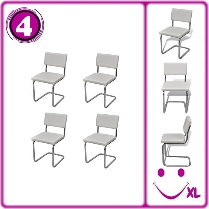 Set de 4 chaises de salon design et moderne en simili cuir for Chaise salon design