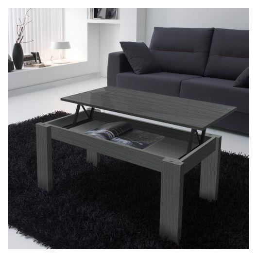 table basse relevable grise veinage bois rectangul achat. Black Bedroom Furniture Sets. Home Design Ideas