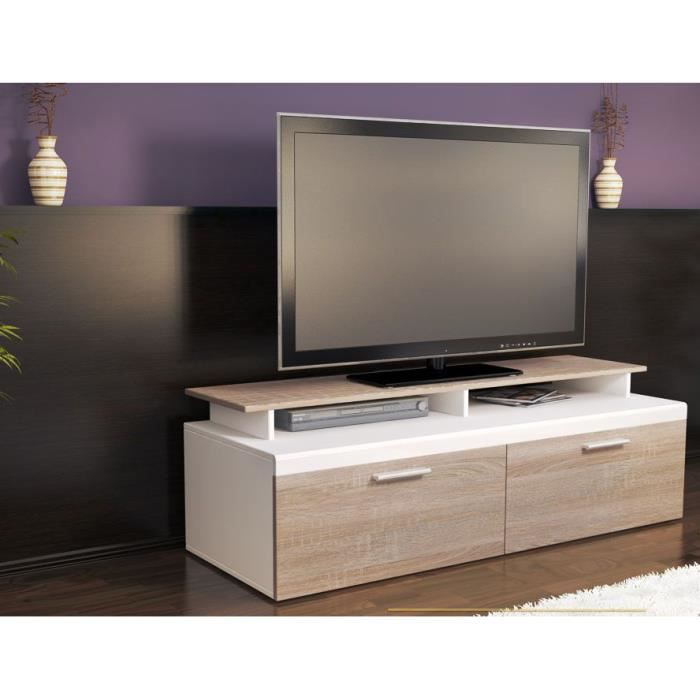 meuble tv blanc bois brut 140 cm achat vente meuble tv. Black Bedroom Furniture Sets. Home Design Ideas