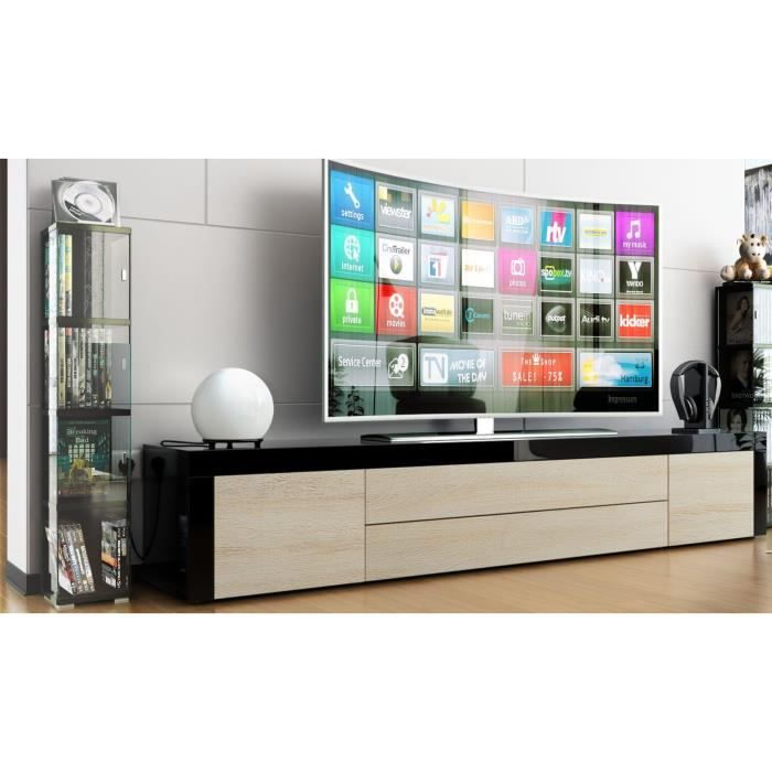 meuble tv noir bois brut 200cm achat vente meuble tv meuble tv cdiscount. Black Bedroom Furniture Sets. Home Design Ideas