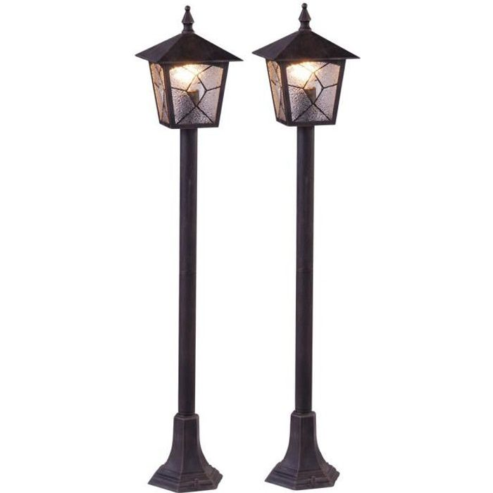 2 x lampadaire ext rieur lanterne aluminium all e jardin clairage terrasse luminaire sur pied. Black Bedroom Furniture Sets. Home Design Ideas