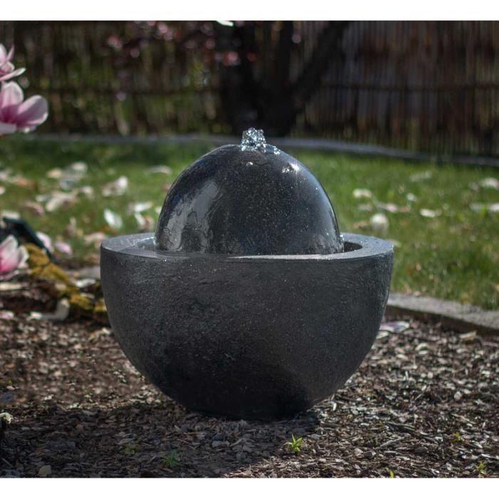 Fontaine de jardin fontaine à boule FoBall gris foncé 10873 ...