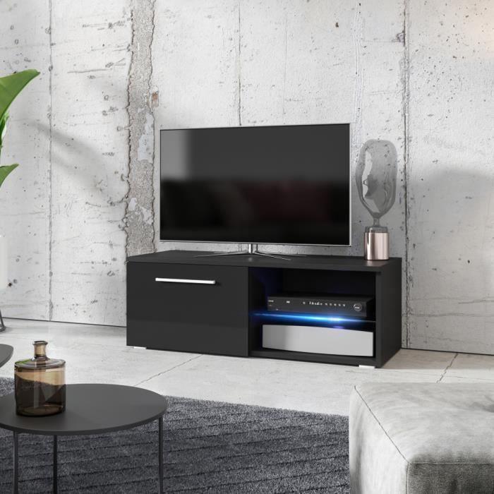 4 tiroirs push//open système Meuble TV Banc TV Longueur 150cm éclairage RBG LED