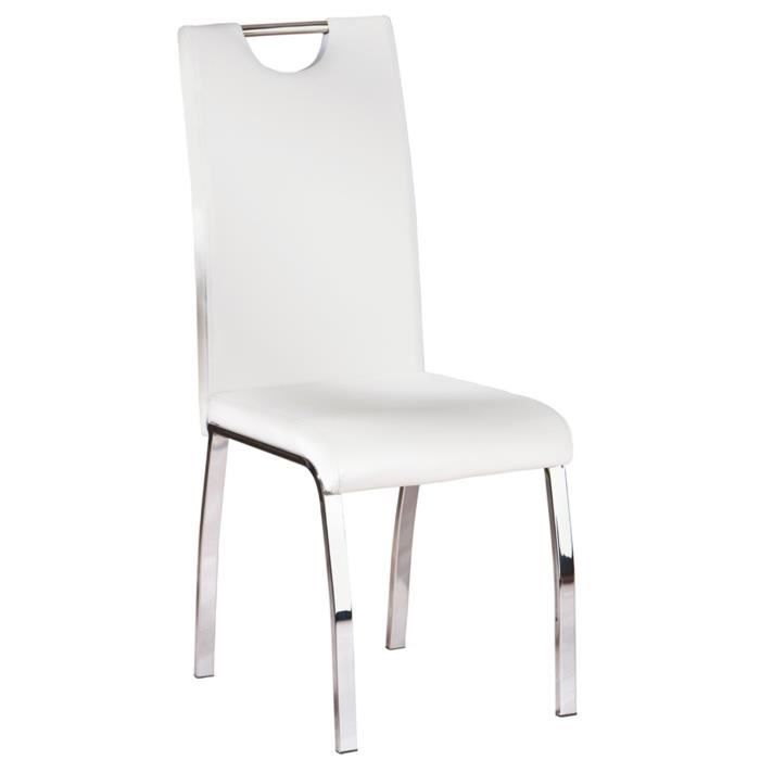 Lot de 2 chaise de cuisine blanc dim 44 x 102 x 54 cm for Chaise design de cuisine