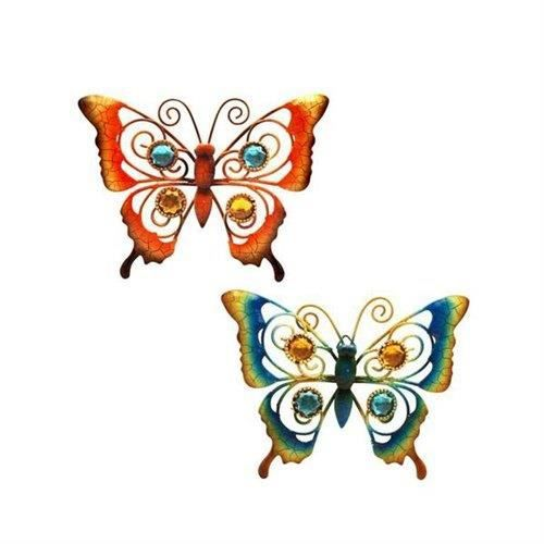 applique murale x2 papillon 15 cm achat vente objet d coratif m tal cdiscount. Black Bedroom Furniture Sets. Home Design Ideas
