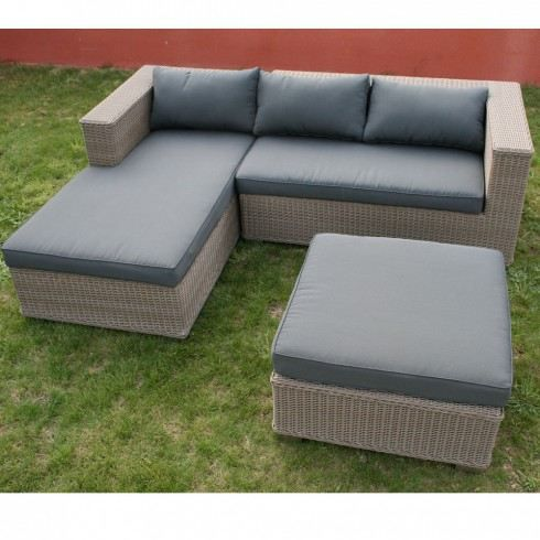 salon de jardin canap malibu coloris gris achat vente. Black Bedroom Furniture Sets. Home Design Ideas