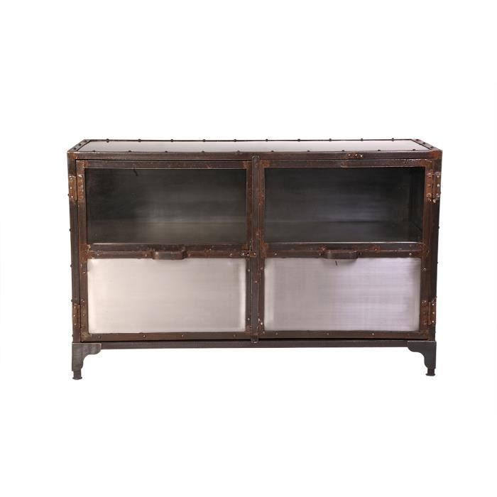 Miliboo buffet m tal industriel 2 portes factory achat for Miliboo buffet