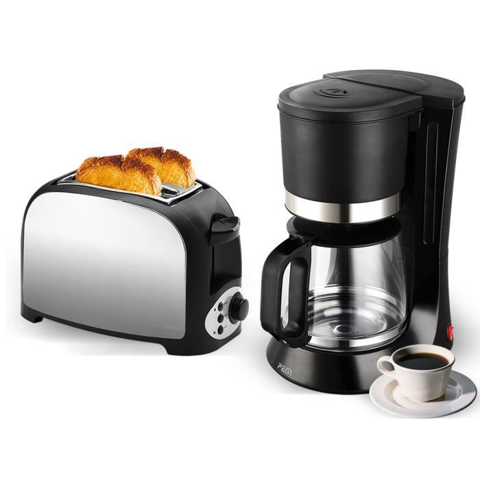 1.7 L Bouilloire électrique sans fil et deux fentes Large Fente Grille-pain en plastique Set Noir