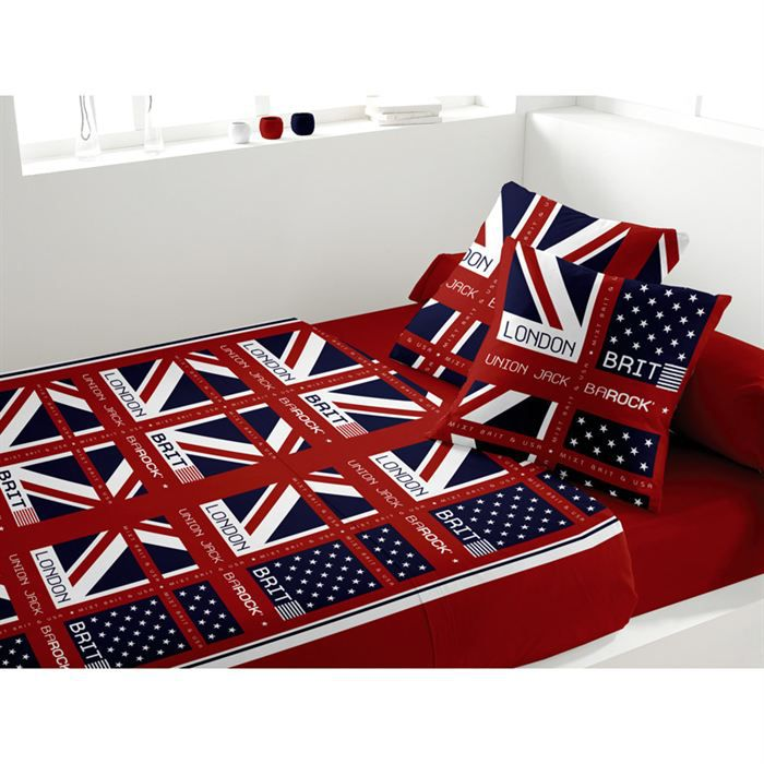 parure de lit london brit achat vente parure de lit cdiscount. Black Bedroom Furniture Sets. Home Design Ideas