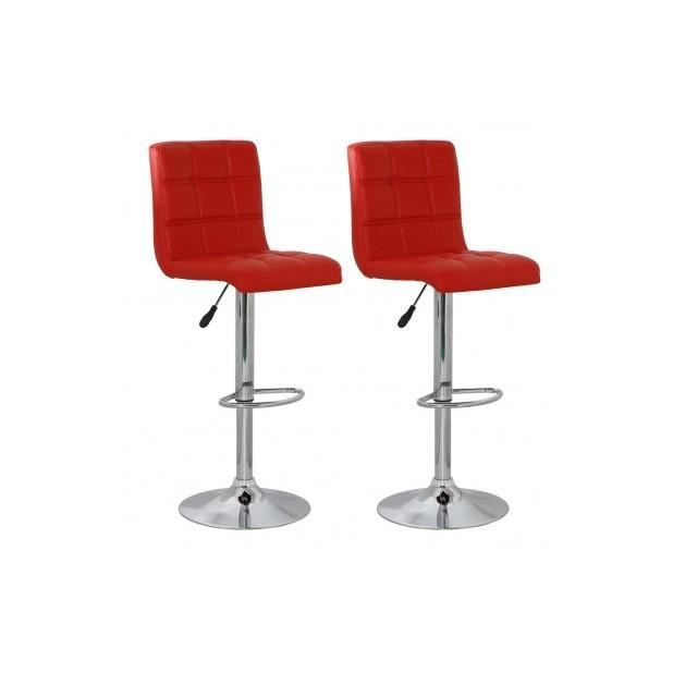 Tabouret design racing rouge lot de 2 achat vente for Tabouret de cuisine rouge