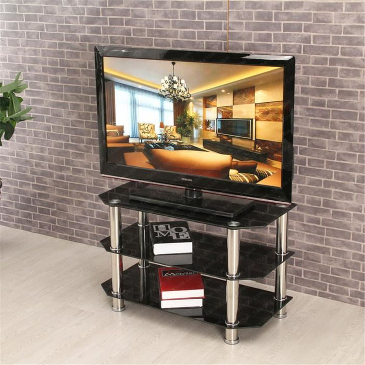 meuble tv verre trempe noir achat vente meuble tv. Black Bedroom Furniture Sets. Home Design Ideas